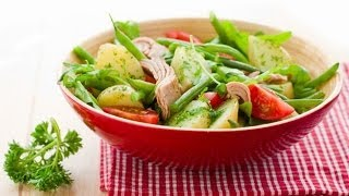 Картофельный салат с тунцом и стручковой фасолью