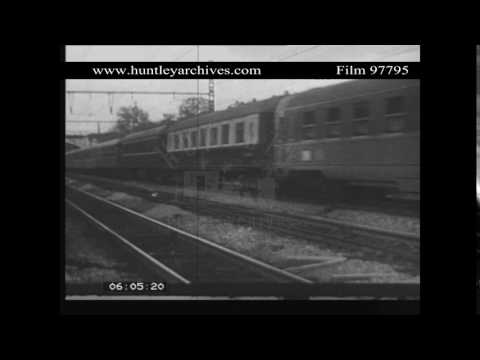 Electric railway train in France.  Archive film 97795