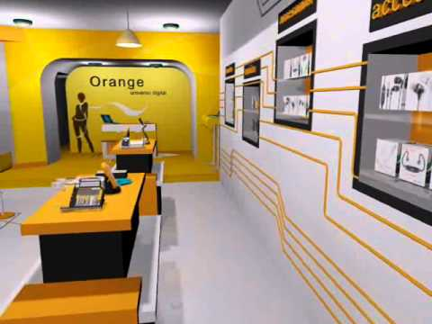 Dise o de tiendas orange 3d youtube for Diseno interiores 3d