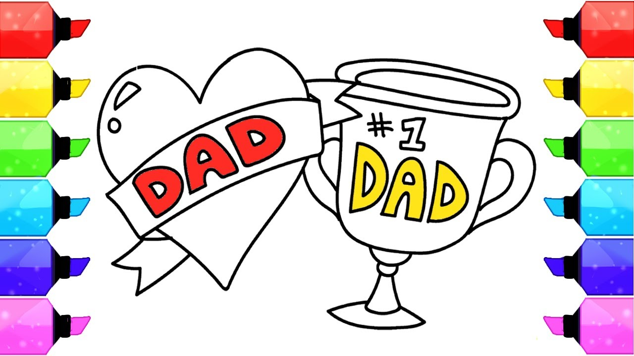 How to Draw Father\'s Day Heart and Dad Trophy Coloring Pages ...