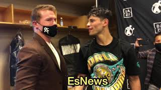 Ryan Garcia Eddie Reynoso Canelo Backstage Seconds After The KO Win Over Campbell - esnews boxing