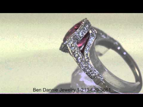 Custom Jewelry Miami Florida - 2.58 Ct Cushion Ceylon Pink Sapphire & Diamond Ring Set in Platinum