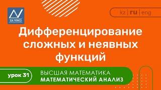 Математический анализ, 31 урок, Дифференцирование сложных и неявных функций