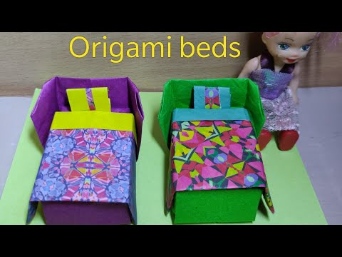 how to make Easy #cute #origami doll beds | paper beds for your dolls | #diy Tutorial