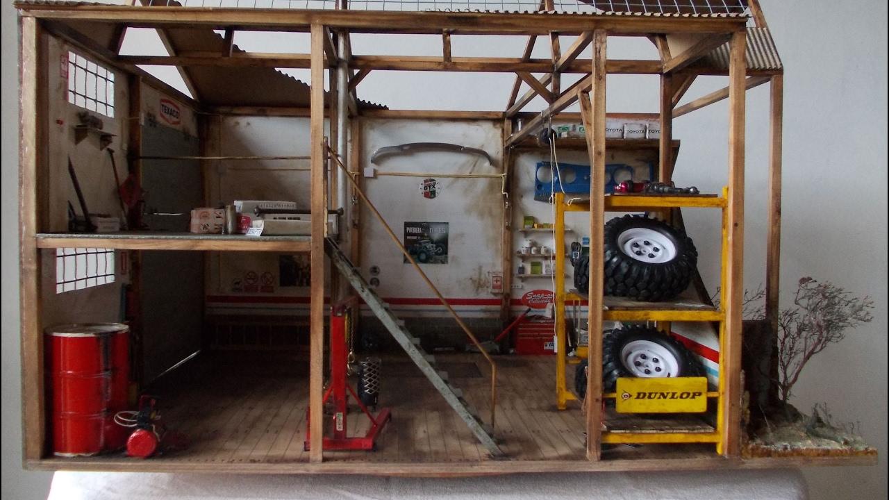 Diorama taller garaje coches escala 1 10 youtube - Garaje de coches ...