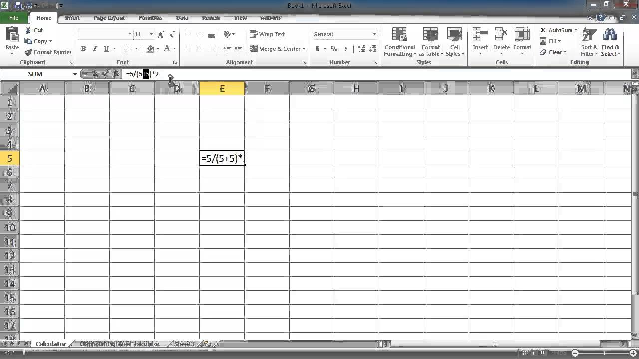 microsoft excel lesson 1 basic numerical operations cell
