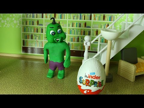 Green Baby OPENING OLD SURPRISE EGG - Stop Motion Cartoons For Kids