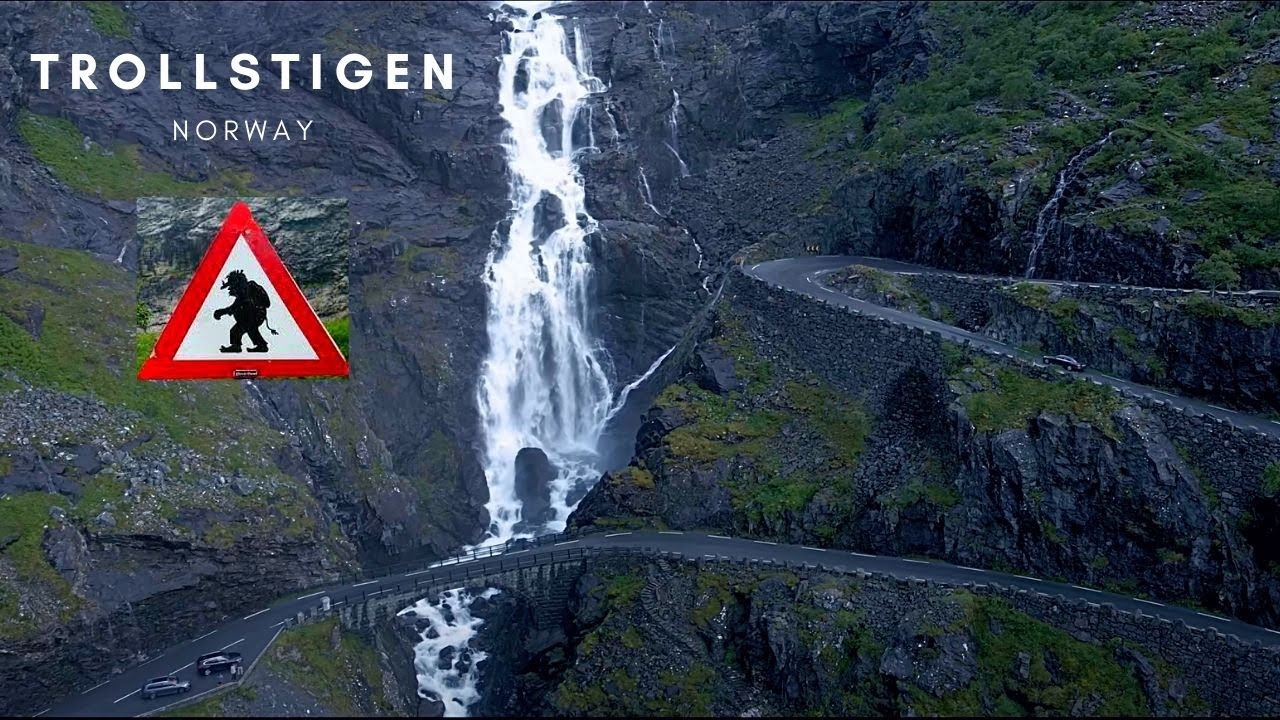 Trollstigen Norway Serpentine Road Aerial Photo In 4k