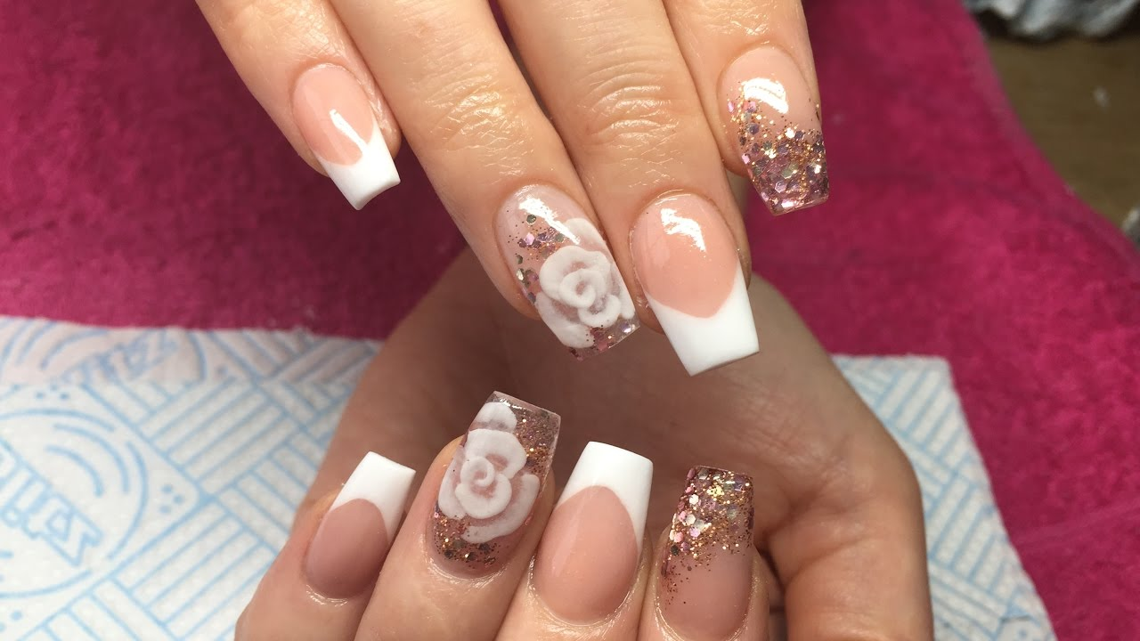 Acrylic Nails | Pink And White French ~ Encapsulated Rose - YouTube