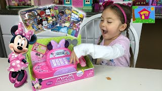 SUPER CUTE DISNEY MINNIE MOUSE CASH REGISTER TOY + PLAY MONEY to Learn Counting Toys Unboxing Funny