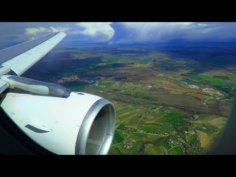 SWISS Airbus A320 ONBOARD Landing at Madrid around Thunderstorms Business Class