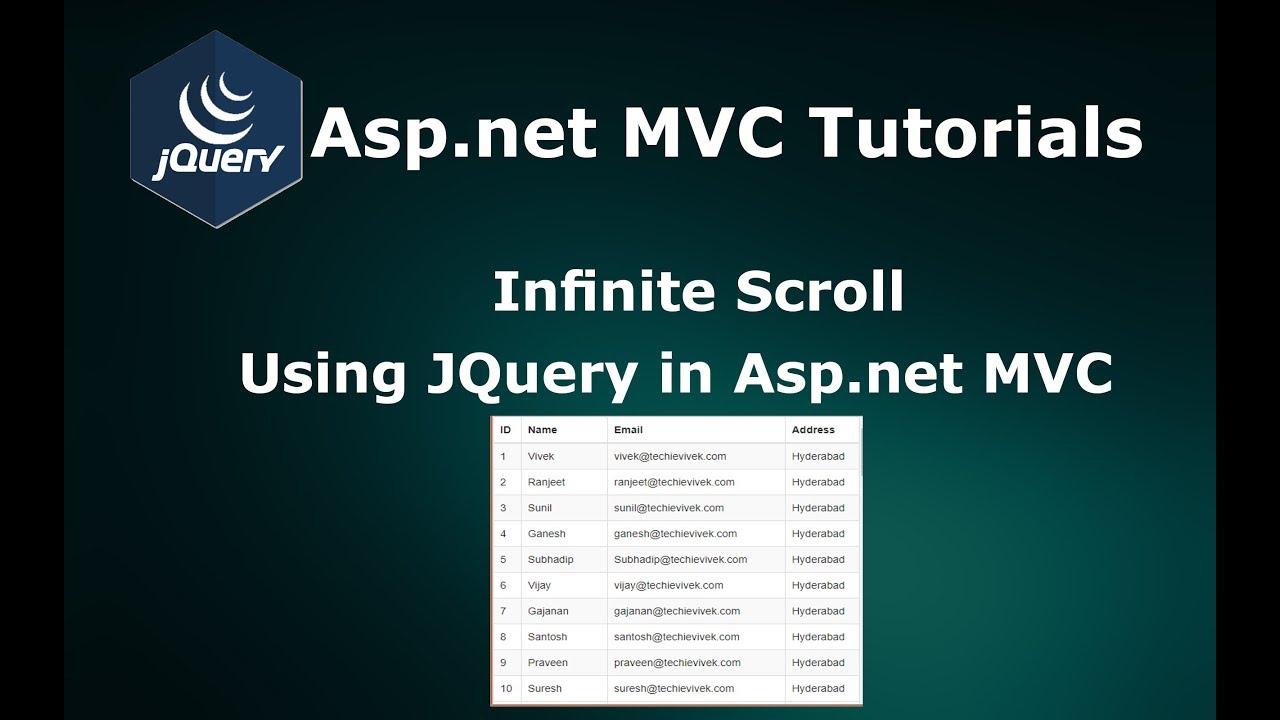 Infinite Scrolling Using Jquery Ajax In Asp Net Mvc Youtube