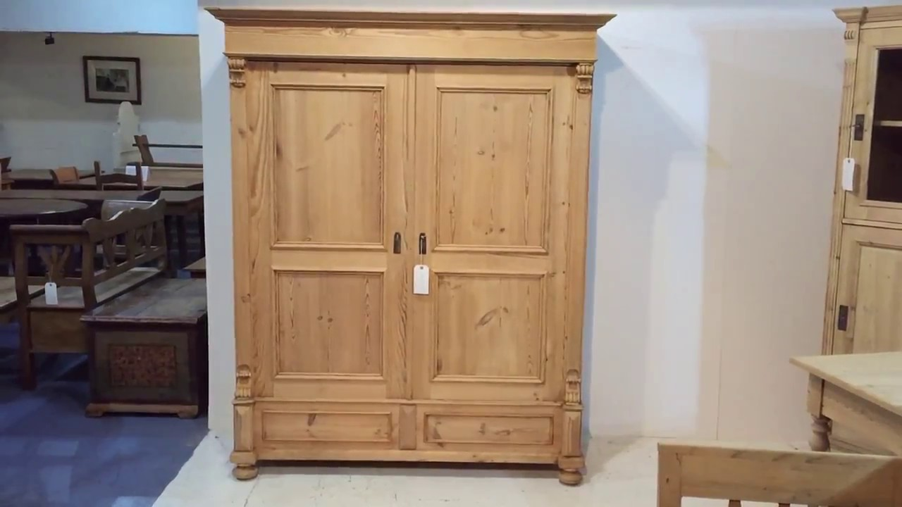 A Large, Low Antique Pine Wardrobe for sale - Pinefinders Old Pine Furniture  Warehouse - A Large, Low Antique Pine Wardrobe For Sale - Pinefinders Old Pine