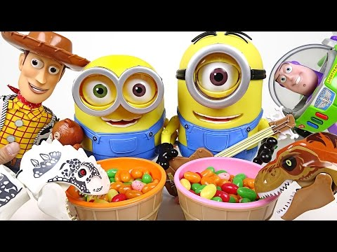 Thumbnail: Scary dinosaurs KO in one shot! Talking Super Minion, Toy Story appearance! - DuDuPopTOY