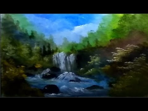 How to Draw Waterfall Beautiful | Acrylic Landscape Painting | Step By Step