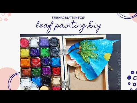 Leaf Painting | coastal landscape painting | beach painting
