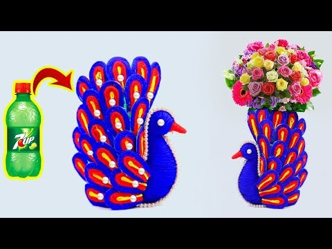 How to make beautiful peacock design with waste plastic bottle || Creative plastic bottle project
