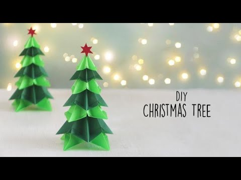 How to Make an Easy Paper Christmas Tree |  Paper Xmas Tree DIY Tutorial