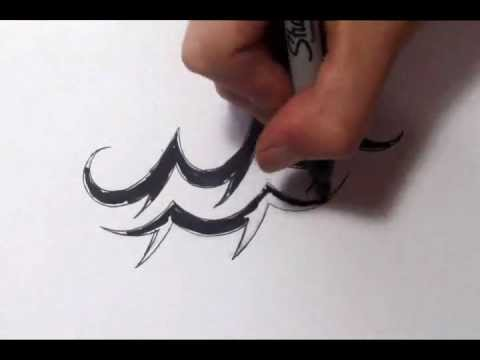 Aquarius Tattoos - How To Draw A Simple Tribal Star Sign