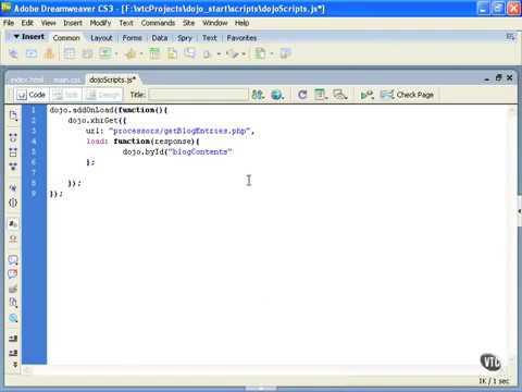 Javascript Libraries Tutorial 7 Using dojo xhrGet & dojo byId