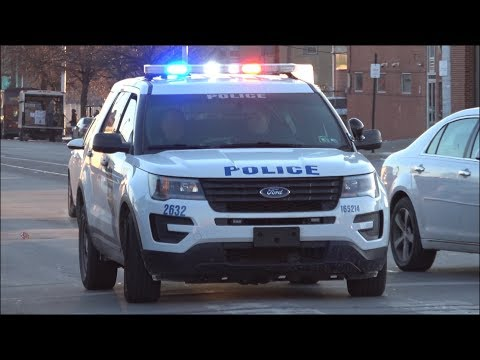 Philadelphia Police cars responding with siren and lights