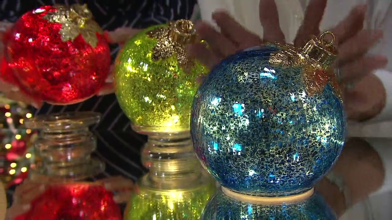 Illuminated 6 Glass Holiday Ornament By Valerie On Qvc Youtube