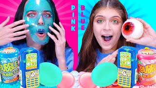 ASMR PINK FOOD vs BLUE FOOD CHALLENGE By LiLiBu