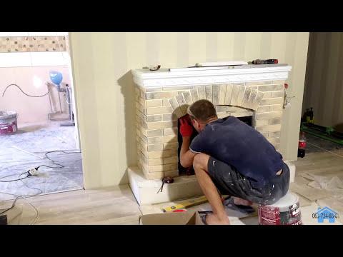 Монтаж декоративного камина. Installation of a decorative fireplace