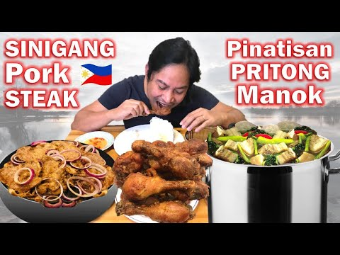 PORK SINIGANG!!! Filipino Style Pork Steak! PINATISANG PRITONG MANOK. Filipino Food. Mukbang