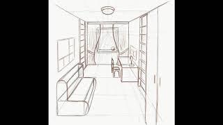 Перспектива комнаты Рисование карандашом  поэтапно #howtodraw a room Step by step drawing