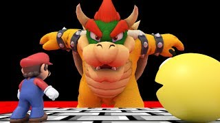 Pacman and Mario vs Bowser