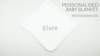 Personalised Baby Blanket | Luxury Baby Gifts | Snoozing Mouse