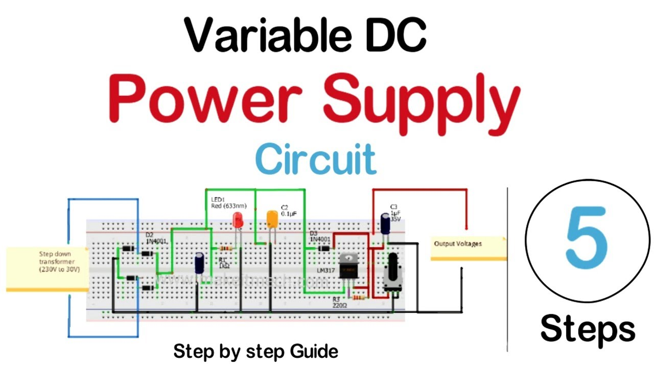 How to make Variable DC power supply | DC power supply Circuit  YouTube