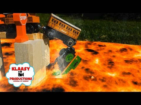 Thomas the Train (Percy Slow Motion Lava Crash!) Brio and Wooden Railway Ep. 3