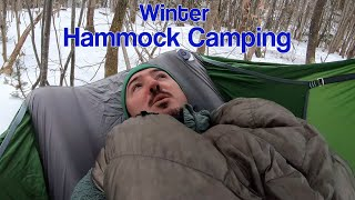 Winter Hammock Camping - Amok Draumr XL - Snow on Unknown Pond