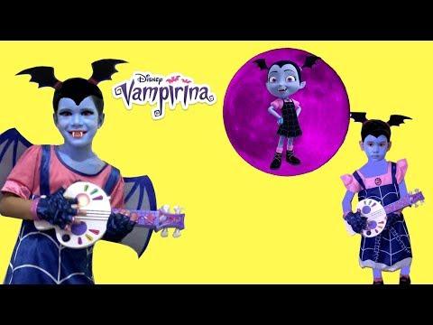 Disney Junior Vampirina Costumes MakeUp and Dress up Sam and Abby Pretend play with favorite toys