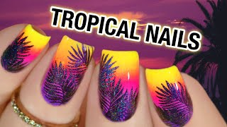 🌴 TROPICAL NAIL ART ▶ Nail Stamping With Pigment Powder (2020)