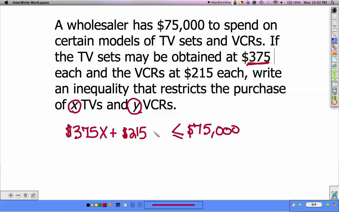 linear inequalities word problems youtube. Black Bedroom Furniture Sets. Home Design Ideas