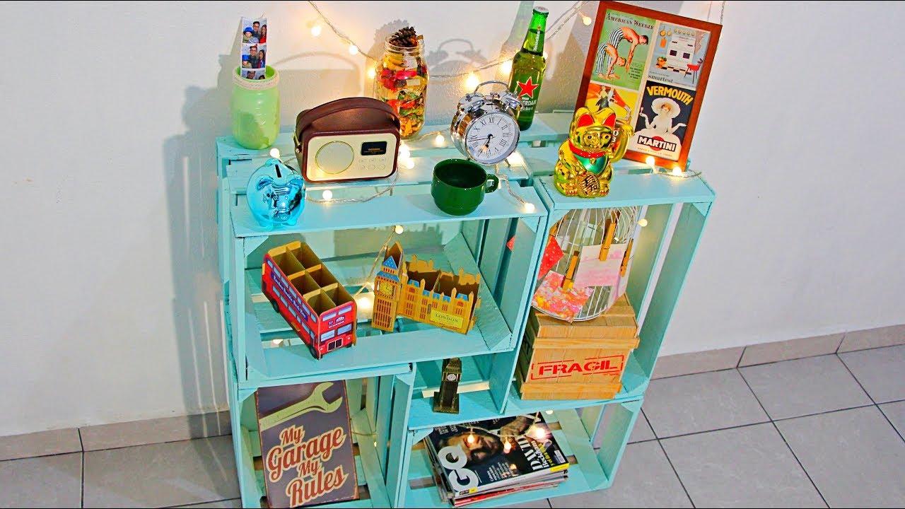 estante con huacales vintage decora tu cuarto youtube