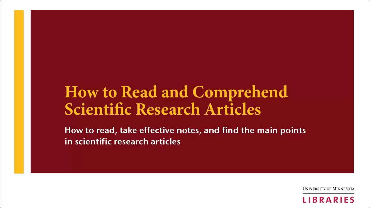 How to Read and Comprehend Scientific Research Articles  YouTube