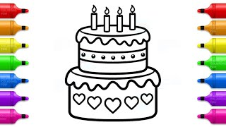 Birthday Cake Coloring Pages - How to Draw Cake with Hearts and Learn Colors for Kids | Kid Coloring