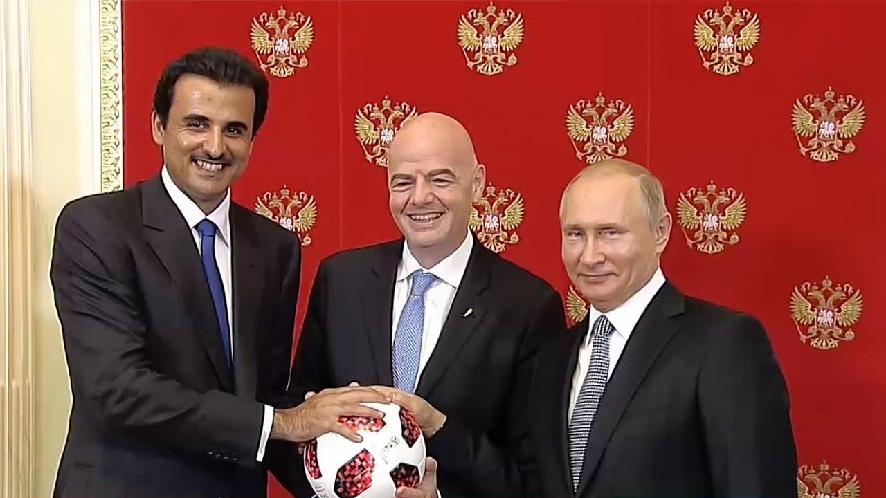 روسيا تسلم قطر شارة تنظيم كأس العالم