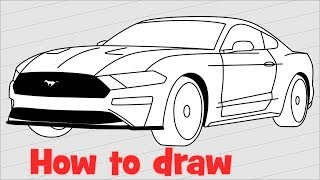 How to draw a car Ford Mustang Shelby GT500 2018