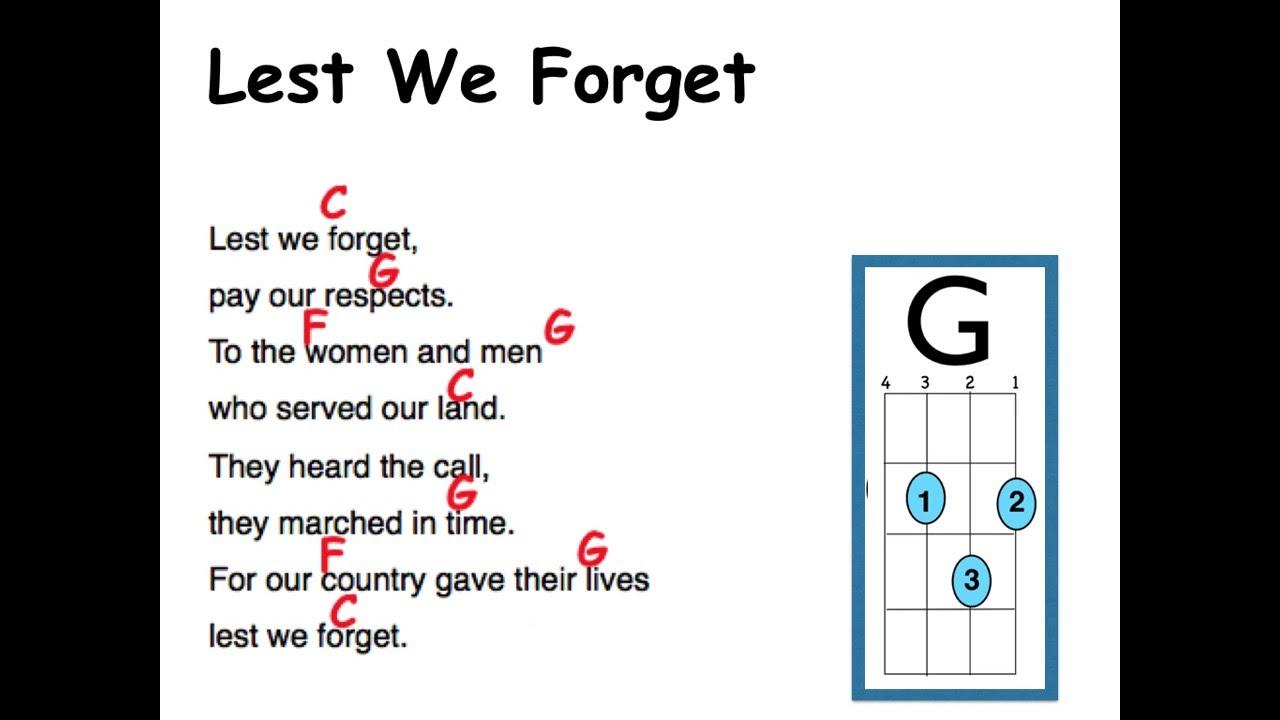 Lest we forget lyrics and uke chords youtube lest we forget lyrics and uke chords hexwebz Gallery