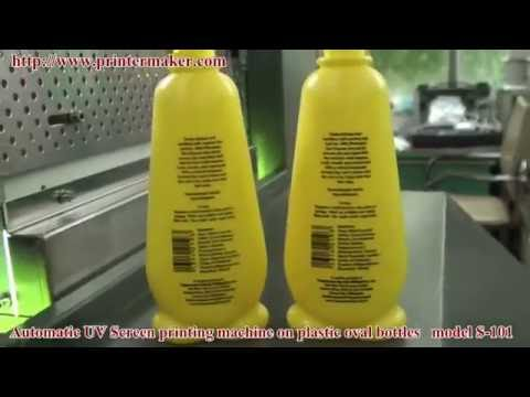 Automatic UV Screen printing machine on plastic oval bottles