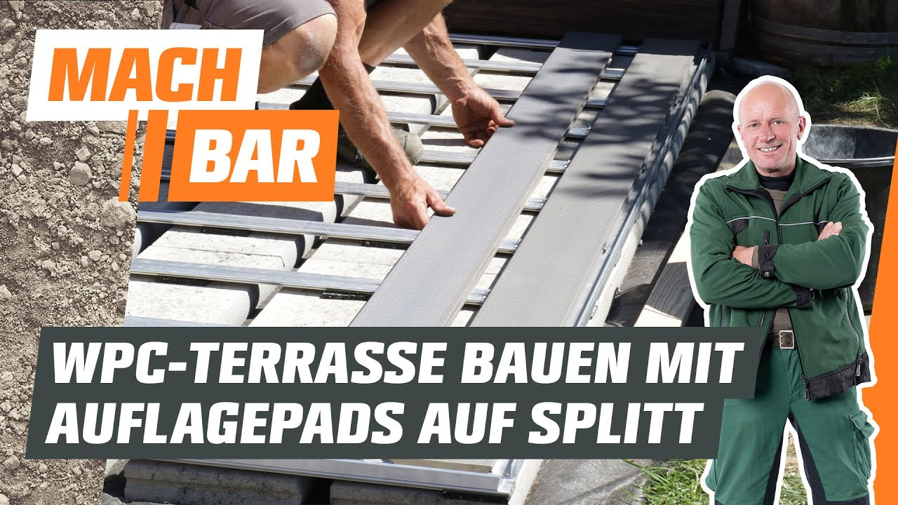 WPC Terrasse bauen im Splittbett auf Auflagepads   OBI