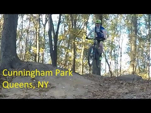 Cunningham Park Mountain Biking. The Entire Trail with Jumps