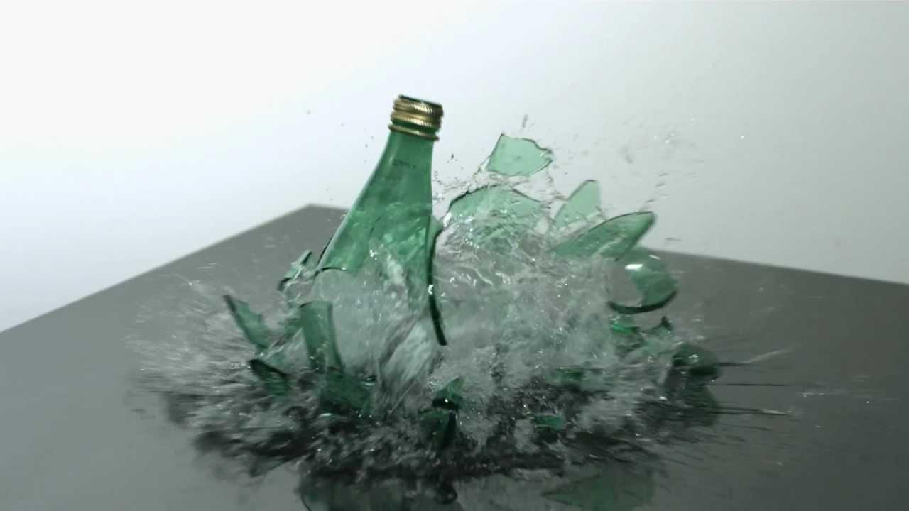Bottle breaking slow motion hd a green glass mineral water for How to break bottom of glass bottle