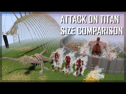 Attack on Titan size comparison: ALL TITANS IN MINECRAFT 1:1