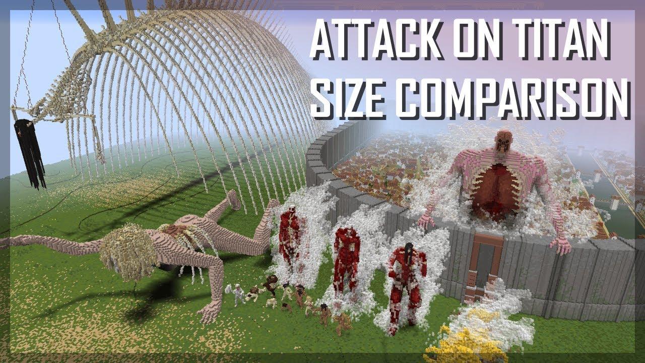 Attack on Titan size comparison 2021 (Final Season): ALL TITANS IN MINECRAFT 1:1